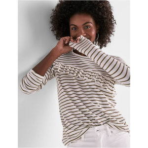Lucky brand striped ruffle knit top